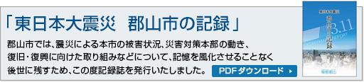 「東日本大震災 郡山市の記録」震災によ る本市の被害状況、災害対策本部の動き、復旧・復興に向けた取り組みなどについての記録誌。